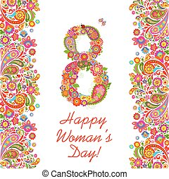 Decorative greeting card with flowers number 8 for International Women's day