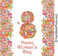 Greeting decorative card with flowers for Womans Day -...