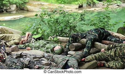 Soldiers resting after training. - Russia, summer 2010....
