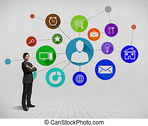 User interface - Businessman and color application icons at...
