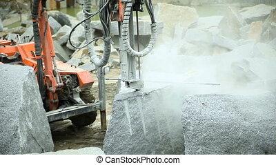 Granite quarry drilling - Drilling drill in granite quarry