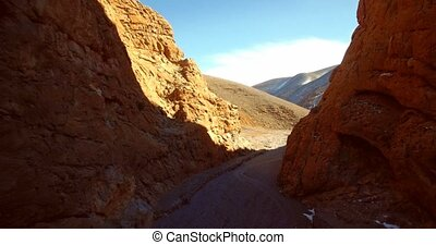 Aerial, Amazing Gorge At Tamtetouchte, Morocco. Graded and...