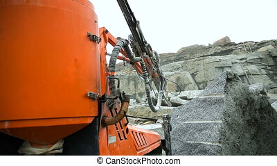 Granite quarry drilling - Drilling drill in granite quarry