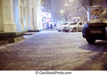 Blurred city street. winter night - Blurred background....