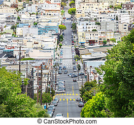 Lombard street with green trees in San Francisco USA