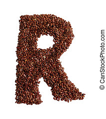 Letter R made with Linseed also known as flaxseed isolated...