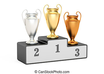Golden, silver and bronze trophy cups on black pedestal, 3D rendering