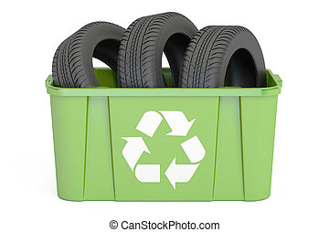 recycling trashcan with tires of car, 3D rendering -...