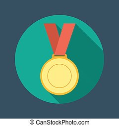 Gold medal winner of the prize- on a red ribbon. Flat icon -...