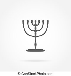 Menorah, Religion icon vector illustration of a state symbol