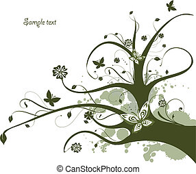 Floral green design with flowing tree - Abstract floral...