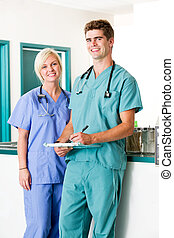 Vet Clinic Portrait - A portrait of a veterinarian and...