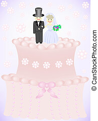 wedding cake with figurines of the bride and groom