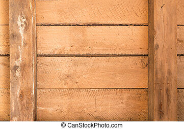 Old wooden boards with beams and horizontal arrangement -...