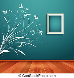Room interior with decorative wall decal - Room interior...