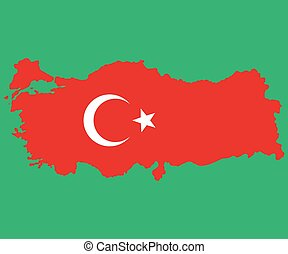 Map of Turkey Turkish flag painted with color symbols the...