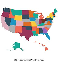 Set of US state maps on a white background vector