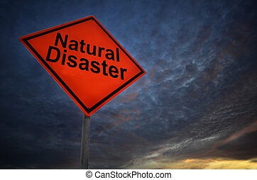 Orange storm road sign of Natural Disaster with dark cloud