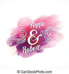 beautiful pink paint stroke effect with wedding invitation details