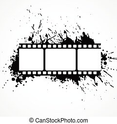abstract 3d film strip background with black ink effect