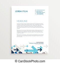 letterhead design template with blue arrows in business style