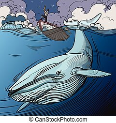 Blue Whale and Whalers - Blue whale being hunted by old time...