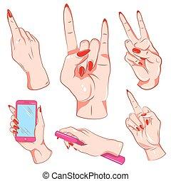 Woman Hand Gestures Set
