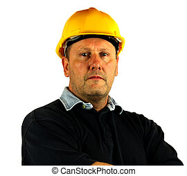 workman with hard hat - Portrait of workman with hard hat