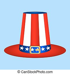 Hat with American flag image on white background
