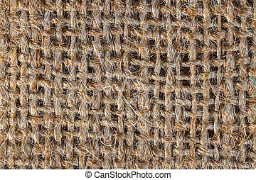 Textured background of a brown burlap bag, close up