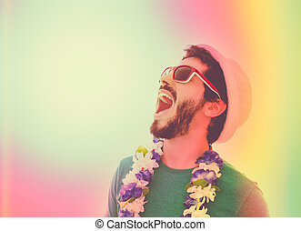 He is in a state of euphoria. - Young man ready for the...