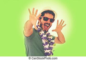 Man in party spirit, having fun and laughing. - Man dressed...