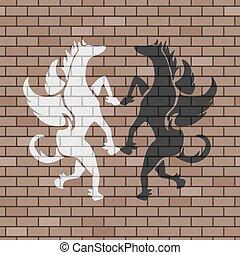 pegasus illustration in brick wall - design of pegasus...