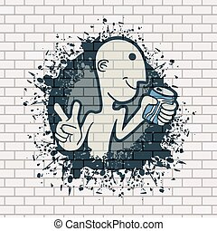 retro art character illustration in brick wall - design of...