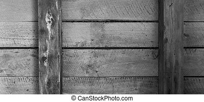 Wooden boards with beams and horizontal arrangement b/w -...