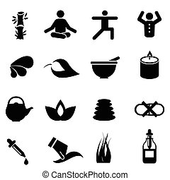 Alternative medicine icons - Alternative therapy medicine...