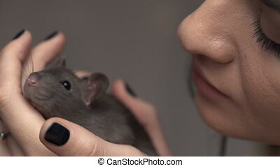 Beautiful lovely girl holds a hand a small home little pet brown mouse close up. She pats her kisses. smiles.
