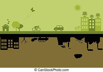 Green sustainable and polluted cities - Green city with...