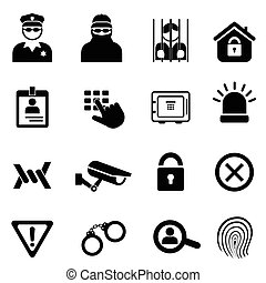 Security and safety icon set - Security, safety related icon...