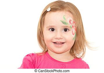 微笑,  face-art, わずかしか, 女の子