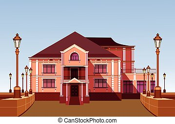 ancient manor - vector illustration ancient architecture...