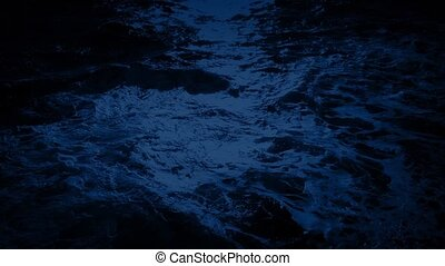 Ocean Waves In Moonlight - Moving over the sea at night