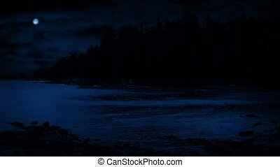Beach Cove In Moonlight - Beach cove at night with a moon...