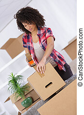 woman moving into new flat