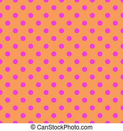 Pink polka dots on orange background