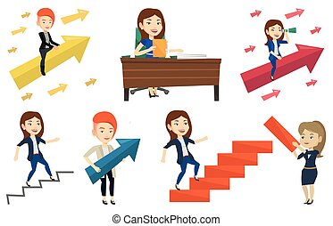 Vector set of business characters. - Business woman running...