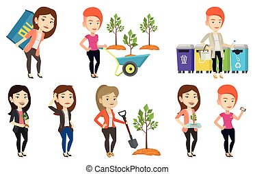 Vector set of characters on ecology issues. - Woman holding...