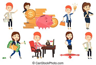 Vector set of business characters. - Businesswoman putting...