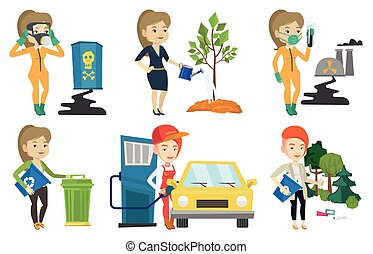 Vector set of characters on ecology issues. - Gas station...