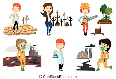 Vector set of characters on ecology issues. - Woman standing...